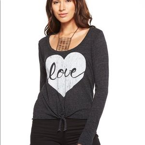 Chaser Long Sleeve Tie Up Love Heart Shirt Med NWT